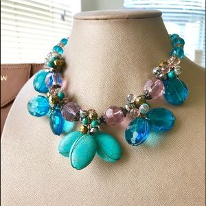 Bold & Beautiful Turquoise & Crystal Necklace